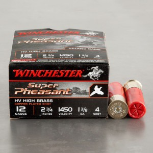 "25rds - 12 Gauge Winchester Super Pheasant 1-3/8 Ounce 2 3/4"" #4 Shot Ammo"