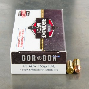 50rds - 40 S&W Corbon Performance Match 165gr. FMJ Ammo