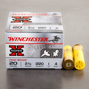 "25rds – 20 Gauge Winchester Upland & Small Game 2-3/4"" 1 oz. #4 Shot Ammo"